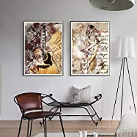 カラーペインティングポスターギターキャンバスペインティング抽象美壁アート写真リビングホームルームモダンデコラティブプリント  50x70cmx2-(フレームなし)