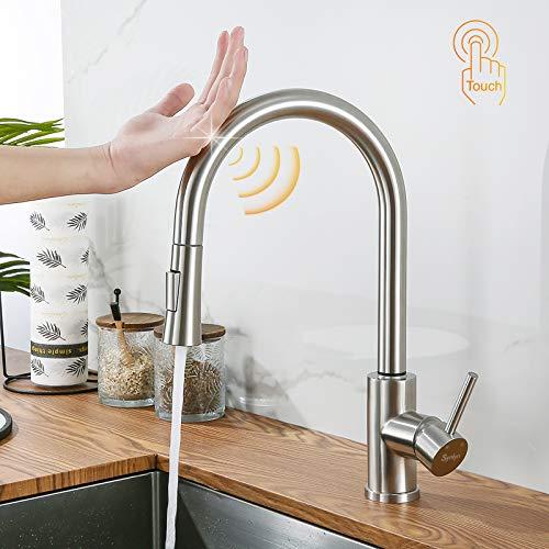 Synlyn grifo de cocina con sensor táctil con cabezal de ducha extraíble de 60 cm grifo de fregadero giratorio de 360 ° grifo de inducción de acero inoxidable 304 mezclador de fregadero monomando
