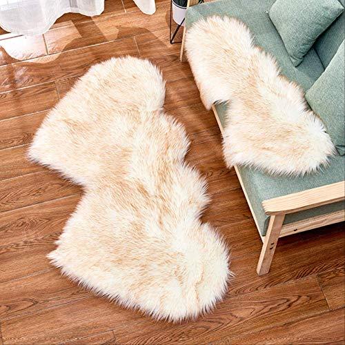 AINIYUE Wohnzimmer Teppich Teppichteppiche, Doppelherz Künstliche Wolle Schaffell Bodenfläche Teppich Shaggy Schlafzimmer Kinderzimmer 90x180cm Weißes gelbes Fell