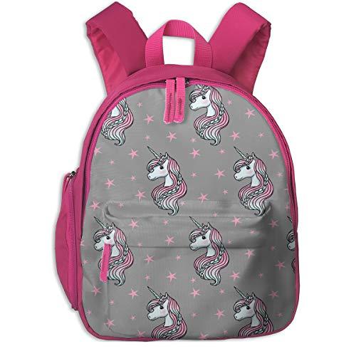 Kinderrucksack mädchen,Einhorn - Graues Pink, Einhorn und Sterne - SMALL_5985 - m & e_Fashions, Für Kinderschulen Oxfordstoff (pink)