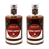 SAVEUR SELECTS Cherry Chipotle BBQ Sauce, 12.7 oz Bottles, Pack of 2, Authentic Recipe Hand-crafted in Small Batches, All-natural, Made in South Carolina, USA