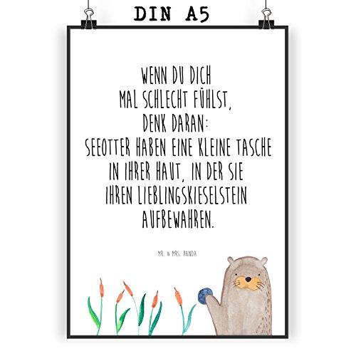 Mr. & Mrs. Panda Geschenk, Wanddeko, Poster DIN A5 Otter mit Stein mit Spruch - Farbe Weiß