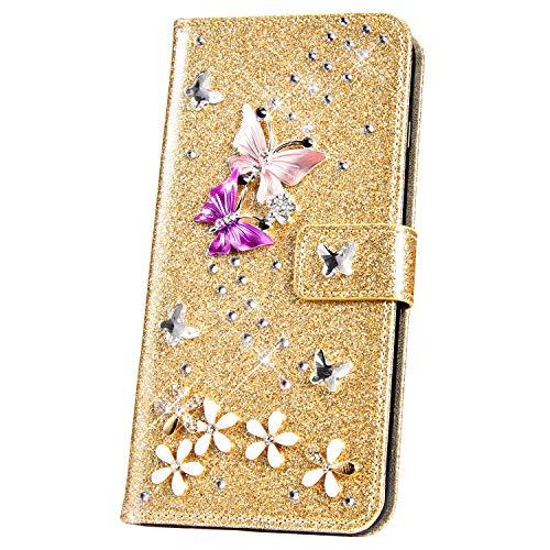 JAWSEU Huawei P20 Pro Coque à Rabat Portefeuille PU en Cuir Housse Paillettes Glitter Brillant Papillon Diamant Folio Flip Case Cover pour Huawei P20 Pro Bling Strass Wallet Etui,Or