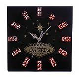 Forum Novelties Las Vegas Black Dice Clock Gambling Poker Clock Man Cave Accessory Wall Clock