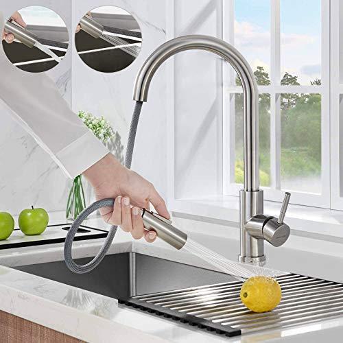 BONADE Ausziehbare Küchenarmatur mit Brause 360° drehbare Spültischarmatur aus 304 Edelstahl Gebürstete Armatur Wasserhahn Spültisch Mischbatterie Küche Spüle