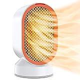Chauffage en céramique 600W, mini radiateur soufflant électrique avec vent chaud/naturel, radiateur individuel pivotant à 45 degrés, protection contre la surchauffe et le renversement