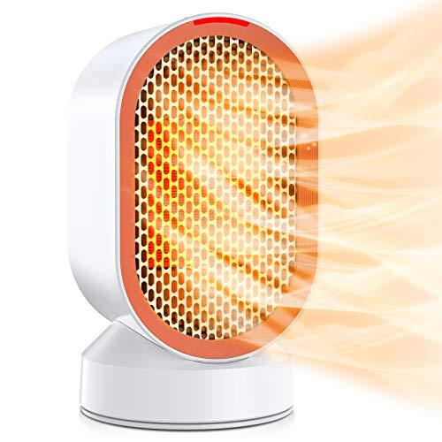 Nuaer Calentador de cerámica,Mini Ventilador eléctrico de 600 W con Viento Caliente/Natural, protección contra sobrecalentamiento y vuelco, Calentador Personal con oscilación de 45 Grados