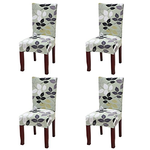 YISUN Stretch Dining Chair Covers Removable Washable Short Dining Chair Protect Cover for Hotel,Dining Room,Ceremony,Banquet Wedding Party (Green, 4 PCS)
