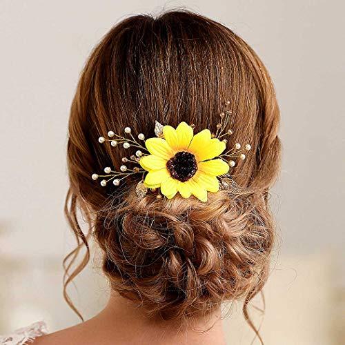 Handcess - Peinetas para el pelo, tocado de novia, diseño de girasol, doradas, diamantes de imitación y perlas, para novia, accesorios para el cabello para mujeres y niñas