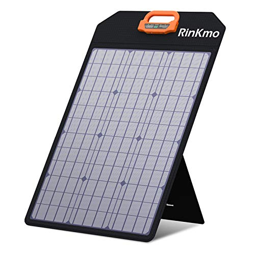 RINKMO 50W Solar Panel Portable Solar Panels Battery Charger with Light Strength Sensor Support 24 Parallel Power Increase200w Max IP65 Waterproof Portable Solar Generator for Camping RV