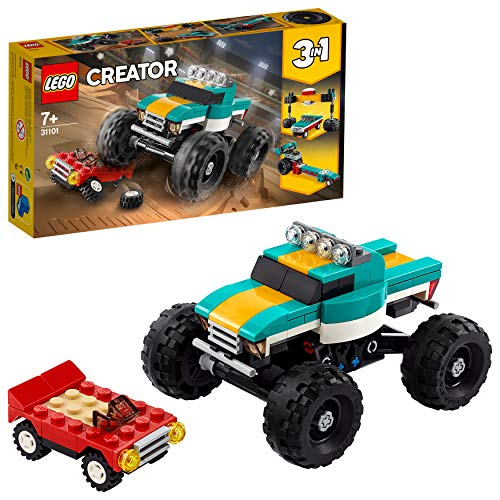 LEGO 31101 Creator 3-in-1 Monster Truck, Spielzeugauto-, Muscle Car-, Dragster-Bauset