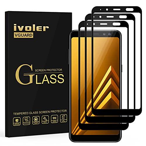 ivoler [3 Stücke] Panzerglas Schutzfolie für Samsung Galaxy A8 2018, [Volle Bedeckung] Panzerglasfolie Folie Hartglas Gehärtetem Glas BildschirmPanzerglas
