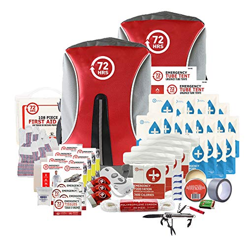 72HRS Earthquake Preparedness Kit, Emergency Kit, Survival Kit for 4 Person - 72 Hours Backpack Deluxe Kit