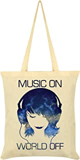 Music On World Off Tote Bag Cream 38 x 42cm