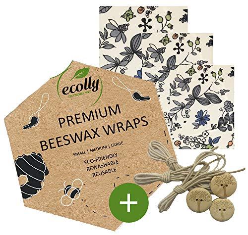 ecolly Toallitas de cera de abejas - Juego de 3 (S, M, L), Papel de cera de abejas, Premium Beeswax Wraps, Sin plástico y reutilizable - Blue Flowers