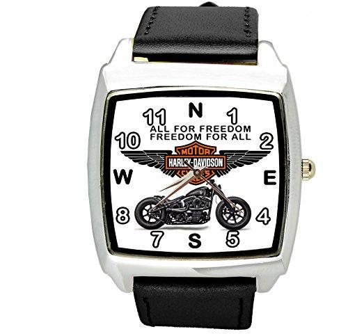 taport Harley Davidson Motor cuarzo cuadrado reloj deportivo Negro banda + libre batería de repuesto + libre bolsa de regalo
