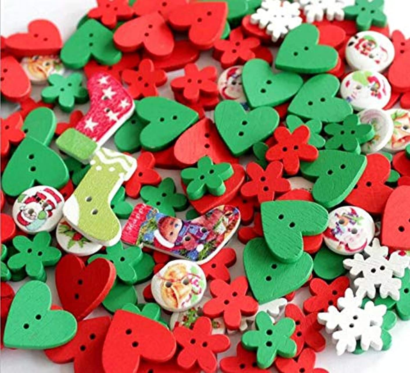 100pcs Green Red Wooden Sew Buttons Small Cute Wood Craft Buttons Assorted Design Buttons 2 Hole Bulk Buttons Compatible DIY Scrapbooking Craft Decoration,Mixed Size and Style (Christmas Red&Green)