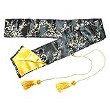 YariNoHanzo Bolsa De Seda Negra con Flores de Oro
