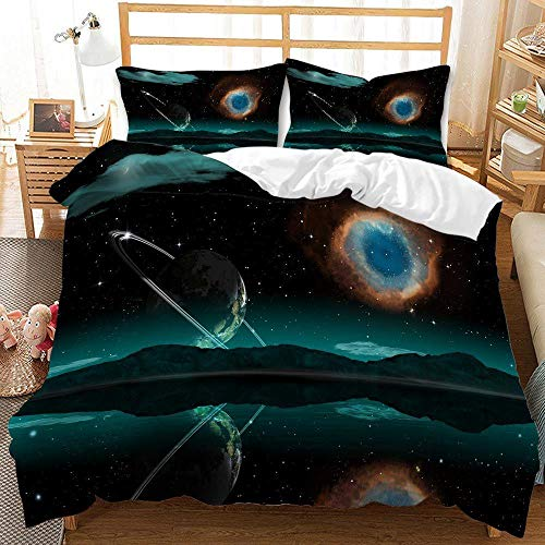Cttfbys mtsubllk Planet space bedding set, 3D printed Mars astronaut duvet cover and pillowcase, suitable for themed bedroom and apartment-M_135*200cm(2pcs)