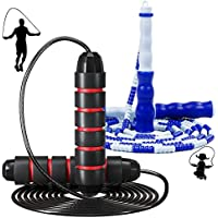 2-Pack Adjustable Length Tangle-Free Weighted Skipping Jump Rope with Ball Bearings and Segmented Soft Bead