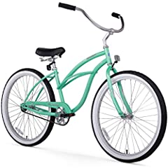 26-inch women's single-speed cruiser bike for easy, relaxed riding Classic curvy beach cruiser design with 15-inch durable steel frame and aluminum wheels White-wall balloon tires for a cushioned ride; easy-to-use coaster brakes Oversized seat with d...