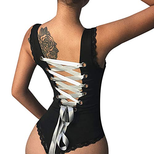 Kadila Company Sexy Schwarze Schnür-Bodys für Frauen Backless Scoop Neck Basic Jumpsuits Ärmelloser Strick-Tank-Trikotanzug