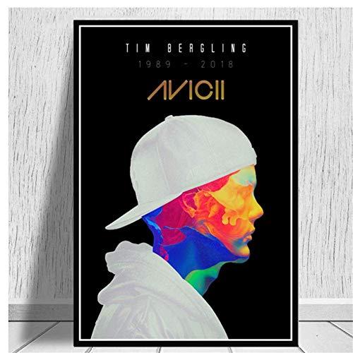 NRRTBWDHL Geschenk Avicii DJ Pop Große Musik Sänger Star Malerei Kunst Poster Druck Leinwand Home Decor Bild Wanddruck -50x70cm Kein Rahmen