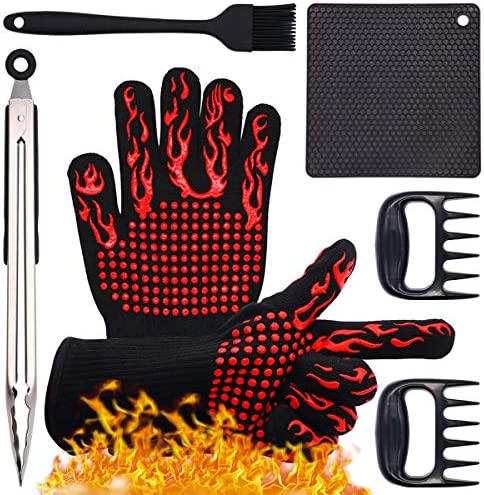 Warmurlife 5 in 1 BBQ Gloves Set Grill Accessories BBQ Gloves Set for Grilling Heat Resistant product image