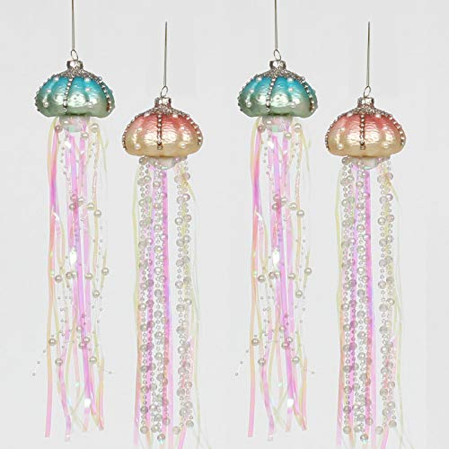 ANGELLOONG 2021 Glass Jellyfish Ornament for Christmas Tree, 13' Beach Beaded Christmas Ornaments, Hanging Coastal Xmas Decoration, Set of 4