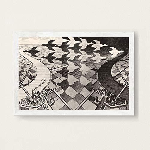 LGYJAL Escher Surrealismo geométrico Arte Abstracto Moderno Pintura en Lienzo Póster Hogar Sala de Estar Dormitorio Decoración Arte de la Pared Póster 50x70 cm B-144