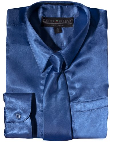 Daneil Ellissa Boys' Long Sleeve Satin Dress Shirt with Matching Tie and Hanky 14 Royal Blue