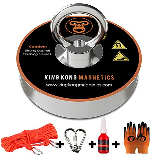 King Kong Magnetics Fishing Magnet Kit with Super Strong Magnet for Pulling 400 Lb, Gloves, Rope, Thread Locker and Carabiners | Underwater Metal Detector – The Ultimate Magnet Fishing Bundle Pack