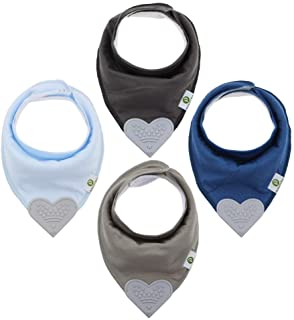 Baby Bandana Teething Bibs with Attached Silicone Teether - Set of 4 -Solid Blues