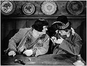Laurel & Hardy 8x10 Photo Seated at Table Feather in Hat kn