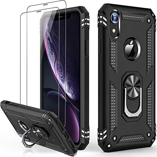iPhone XR Case with Tempered Glass Screen Protector,Military Grade 16ft. Drop Tested Cover with Magnetic Ring Kickstand Protective Phone Case for iPhone XR Black