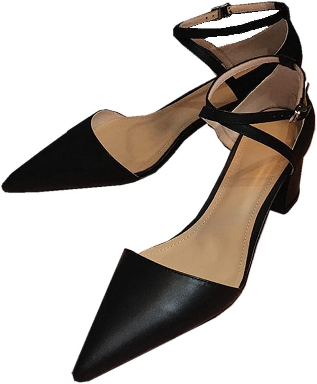 KingRover Women's Fashion Pointed Toe Mid Block Heel Cross Ankle Strap Dress Pumps