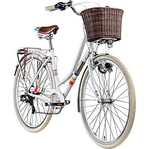 Damenrad 700c Hollandrad Stadtrad 28 Zoll Galano Blush 7 Gang Fahrrad Damen City (weiß, 48 cm)