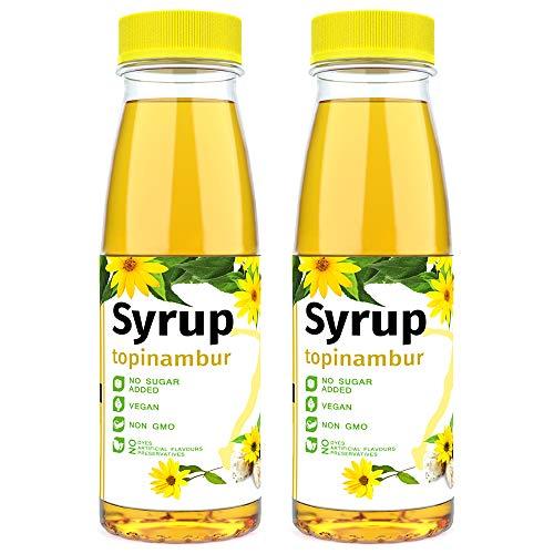 Sirup ohne Zuckerzusatz Topinambur 2 Flasche - wenig Kohlehydrate - Veganer Süßstoff aus Erdbirne - Zum Frühstück - Kinder & Erwachsene