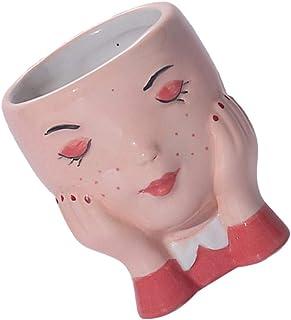 TOYANDONA Female Head Face Succulent Planter Vase Ceramic Flower Pots Indoor Orchid Pot Home Decoration Cactus Pot for Des...