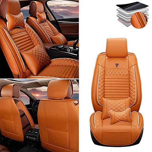 Tuqiang Funda de asiento de coche para Lexus CT IS ES GS GX LS LX NX RC LC UX SC HS, cuero de lujo impermeable, airbag compatible asiento cubierta,fila delantera Lau naranja