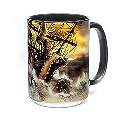 The Mountain Kraken Ceramic Coffee Mug, Black, 15 oz