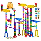 LOYO Glowing Marble Run, 132pcs Marble Run Toy with Construction Set, Glow in the Dark Marbles and Glass Marbles, STEM Educational Learning Toy for Boys Girls 4 5 6 7 8 + Year Old
