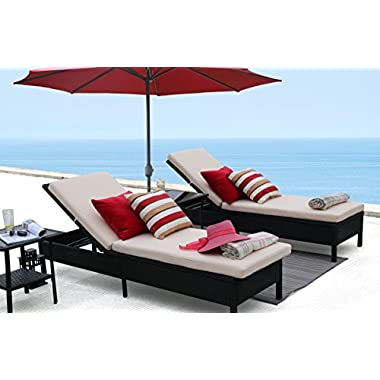Baner Garden X15 Modern Outdoor Pool Patio Furniture Adjustable One Single Chaise Lounge Chair with Two Beige Cushions