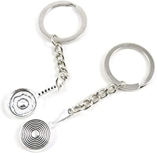 Metal Antique Silver Plated Keychains Keyrings Keytag P7EW6 Omelette Pan Pot Key Chain Ring