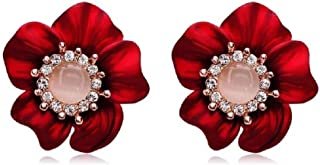 Gold Plated Belle Red Rose Flower Earring Pink Birthstone Stud Earrings Women Fashion Enchanted Drop Earrings