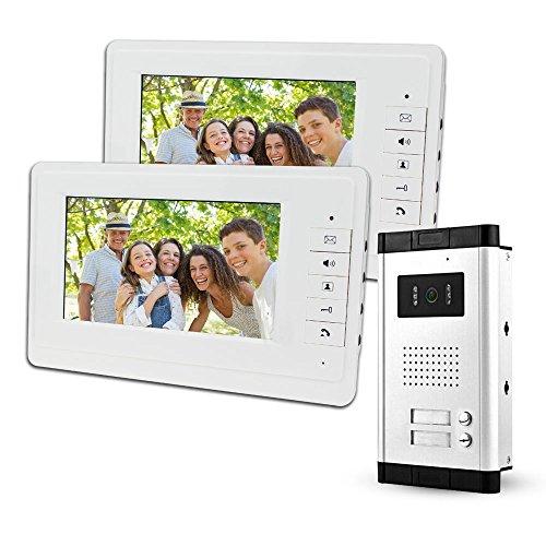 LIBO Video Portero 2 Monitores Videoportero IP 7 Pulgadas con Camara Visores Nocturnos Infrarrojos 700 TVL Seguridad Entrada para múltiples Apartamentos/familias