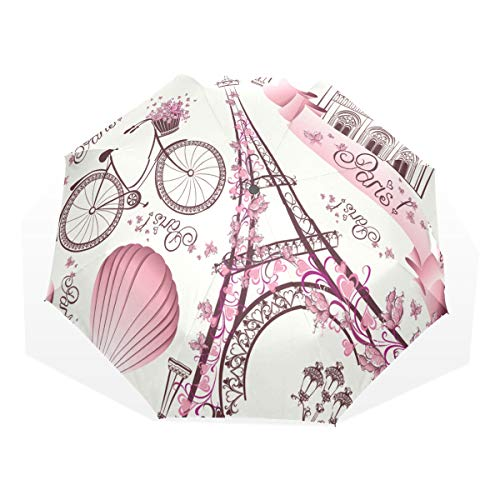 Kids Fold Umbrella Eiffel Tower Notre Dame De Paris Romantic Travel in France Windproof Fold Up Umbrella for Kids Rain & Wind Resistant Compact and Lightweight for Business and Travels