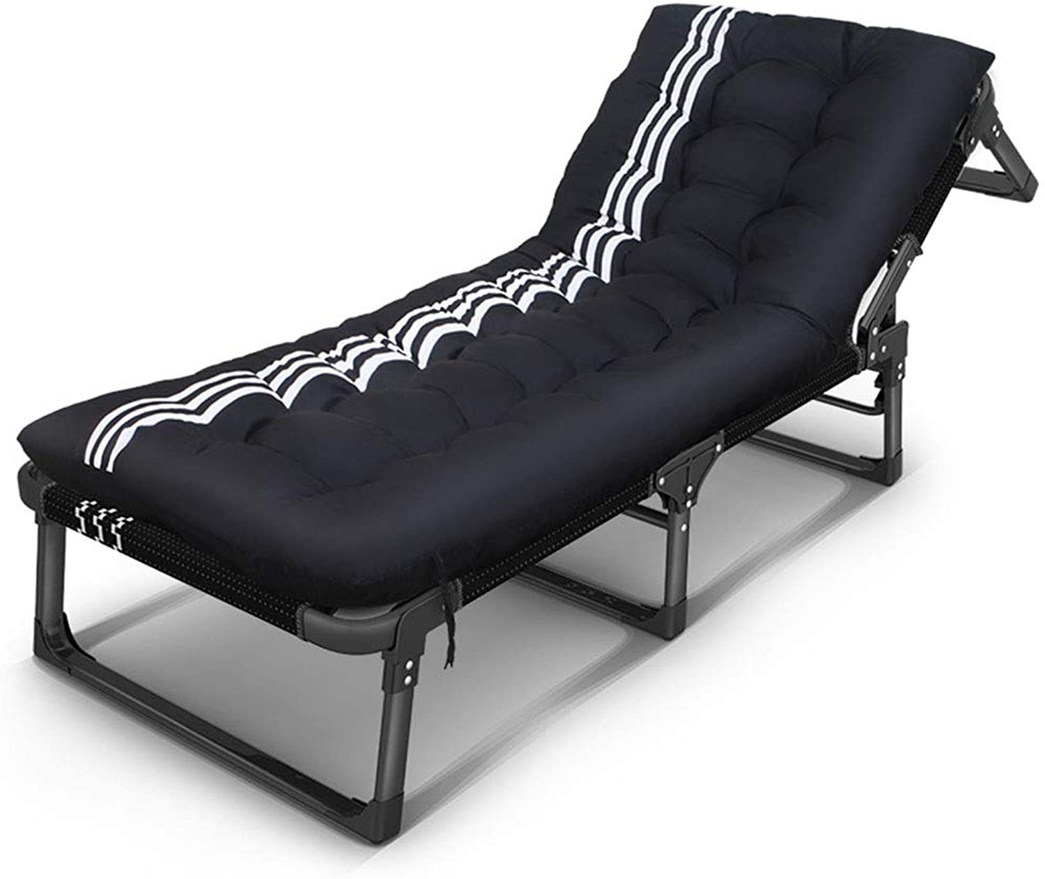 Household Single Folding Bed Portable Garden Lounge Chair Black and White Stripes Deck Chair Beach Bed Outdoor Sun Lounger Load of About 150kg L185×W68×H28cm GW