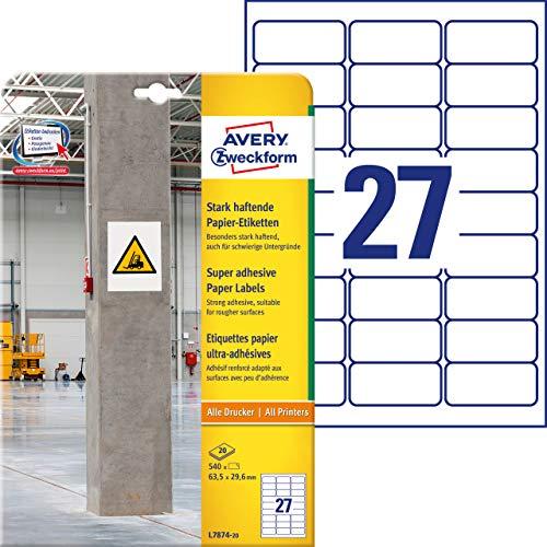 AVERY Zweckform L7874-20 Stark haftende Papieretiketten (63,5x29,6 mm auf DIN A4, extrem stark selbstklebend, bedruckbare Power Papieraufkleber) 540 Aufkleber auf 20 Blatt weiß