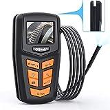 Oiiwak Industrial Endoscope Automotive Borescope Inspection Snake Camera Scope IPS Screen 5.5mm 1080P Waterproof 6 LED & Hidden Winding Semi-Rigid Cable(9.84FT)